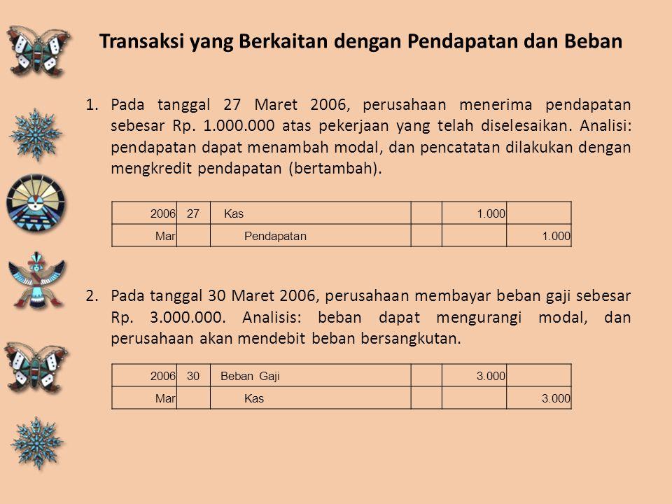 Transaksi yang Berkaitan dengan Pendapatan dan Beban 1.Pada tanggal 27 Maret 2006, perusahaan menerima pendapatan sebesar Rp. 1.000.000 atas pekerjaan