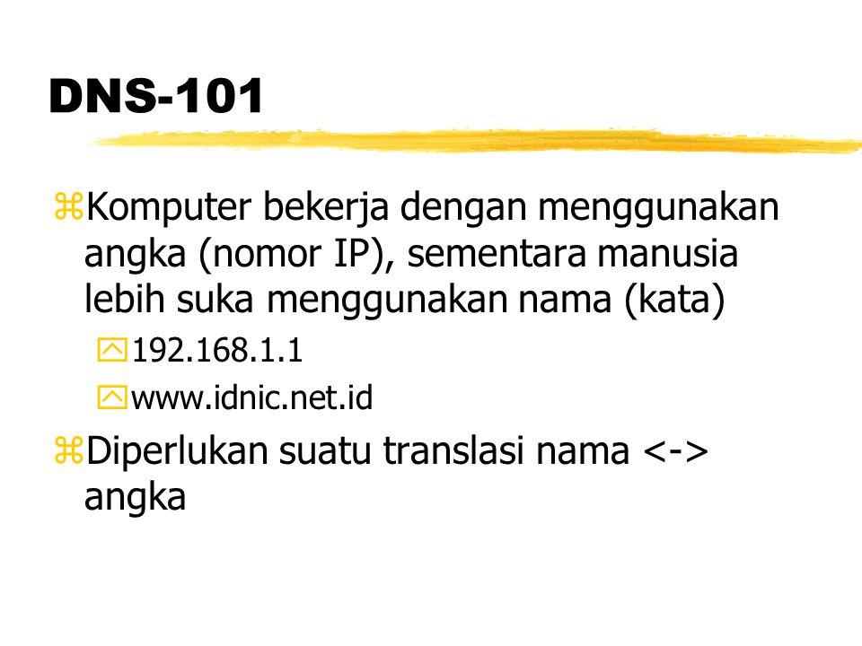 DNS 101 zSemula translasi dilakukan secara terpusat (centralized) y/etc/hosts ycontoh isinya