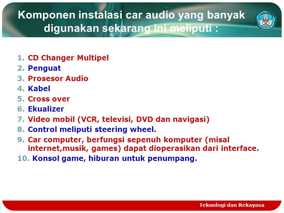 Teknologi dan Rekayasa Komponen instalasi car audio yang banyak digunakan sekarang ini meliputi : 1.CD Changer Multipel 2.Penguat 3.Prosesor Audio 4.Kabel 5.Cross over 6.Ekualizer 7.Video mobil (VCR, televisi, DVD dan navigasi) 8.Control meliputi steering wheel.