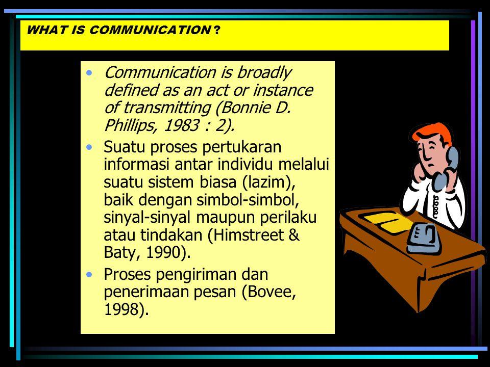 """•Latin : """"communicare"""" = bersama, memberi, mengambil bagian, meneruskan sehingga terjadi sesuatu yang umum (Bovee & Thill, 2003) •Definisi menurut Kam"""