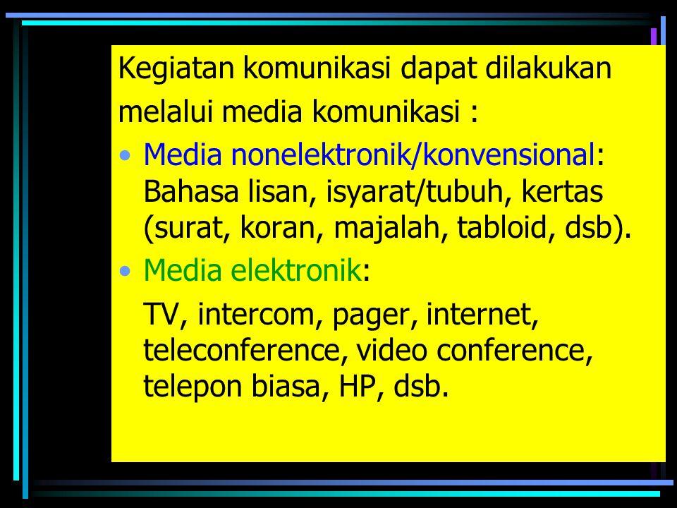 2. Komunikasi Massa –Disampaikan kepada kelompok orang yang sangat besar melalui media massa.