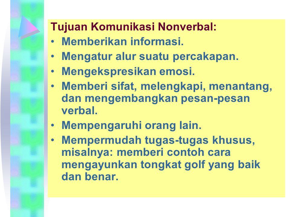 •Komunikasi nonverbal: –Menunjukkan perasaan seseorang terhadap suatu situasi tertentu. –Mempunyai sifat yang kurang terstruktur, mengakibatkan komuni
