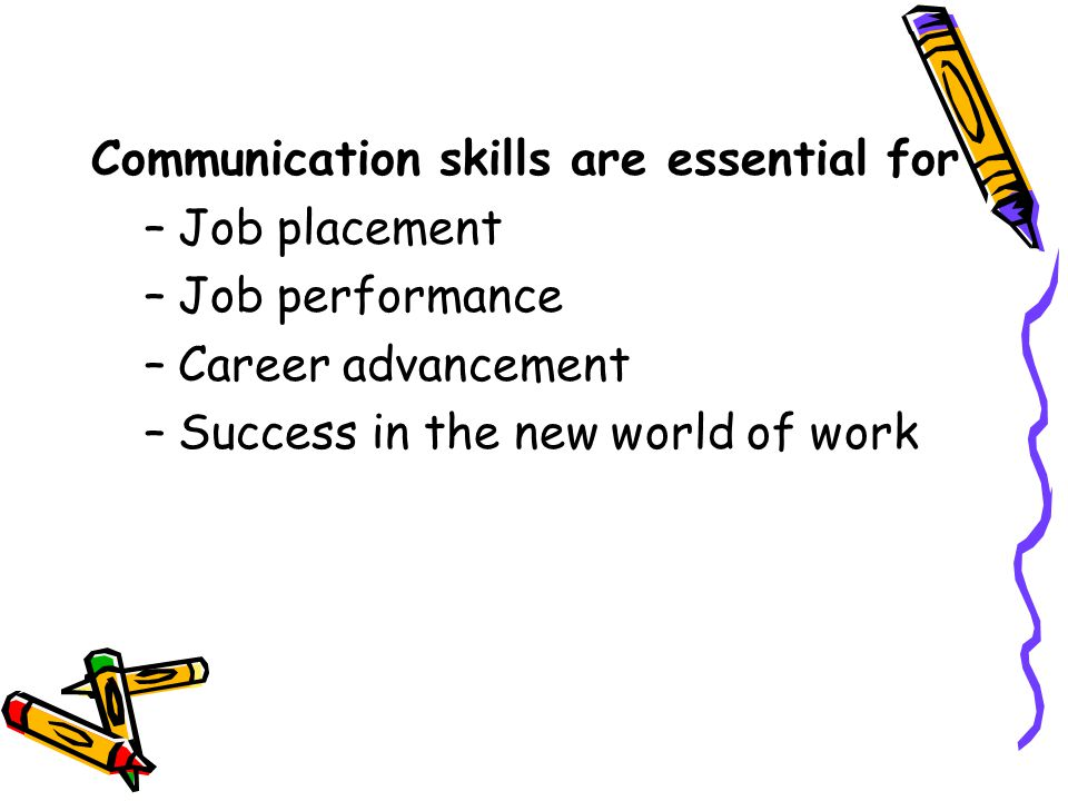 Communication skills are essential for –Job placement –Job performance –Career advancement –Success in the new world of work