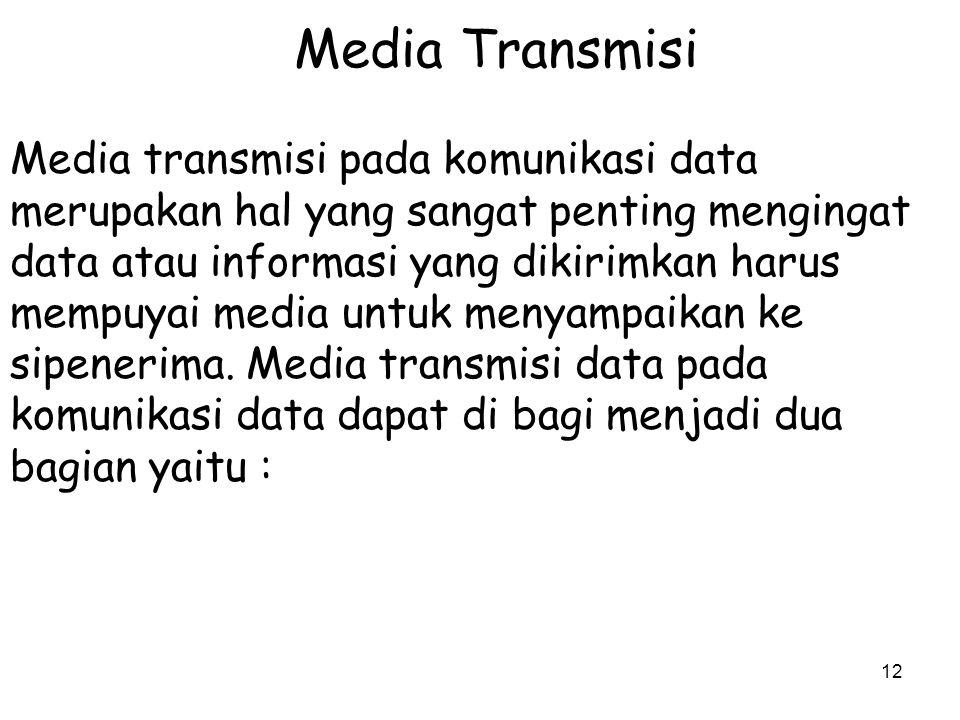 12 Media Transmisi Media transmisi pada komunikasi data merupakan hal yang sangat penting mengingat data atau informasi yang dikirimkan harus mempuyai media untuk menyampaikan ke sipenerima.