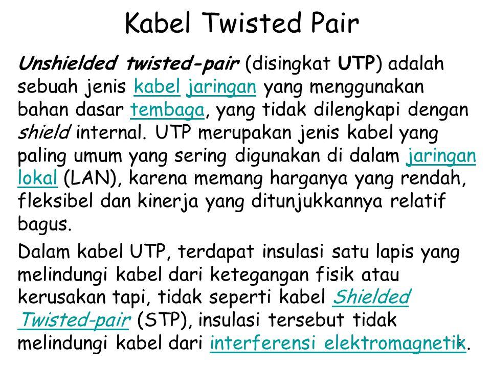 15 Kabel Twisted Pair Unshielded twisted-pair (disingkat UTP) adalah sebuah jenis kabel jaringan yang menggunakan bahan dasar tembaga, yang tidak dilengkapi dengan shield internal.