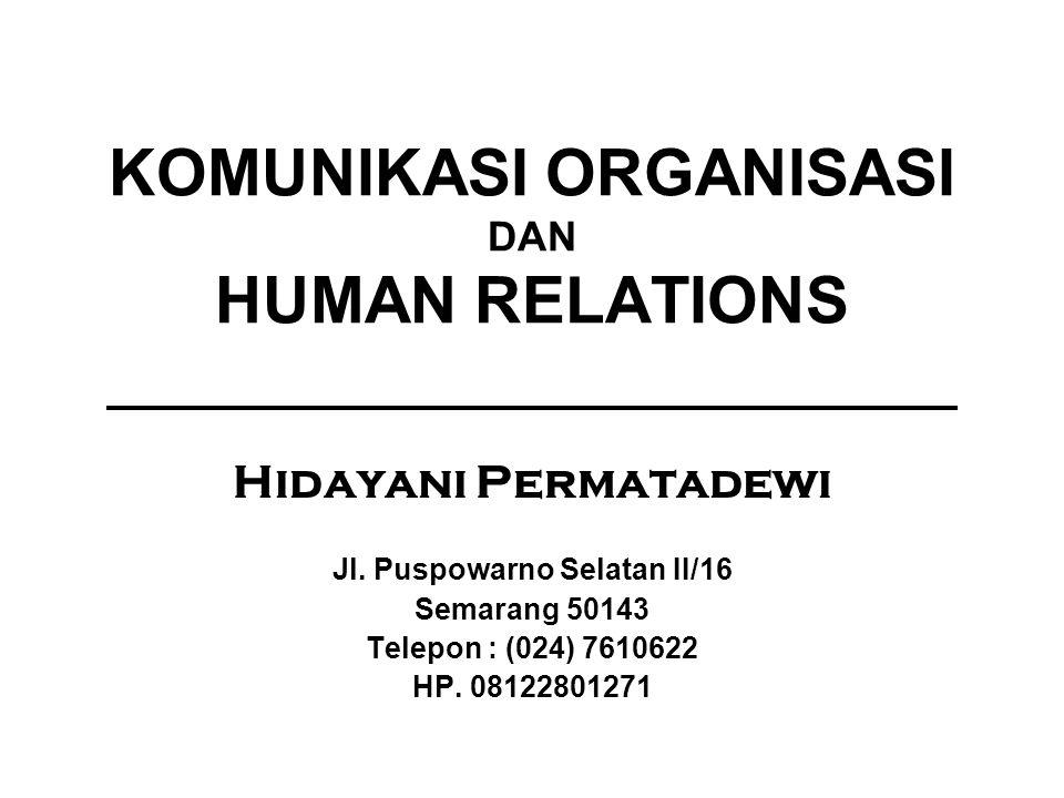 KOMUNIKASI ORGANISASI DAN HUMAN RELATIONS Hidayani Permatadewi Jl. Puspowarno Selatan II/16 Semarang 50143 Telepon : (024) 7610622 HP. 08122801271