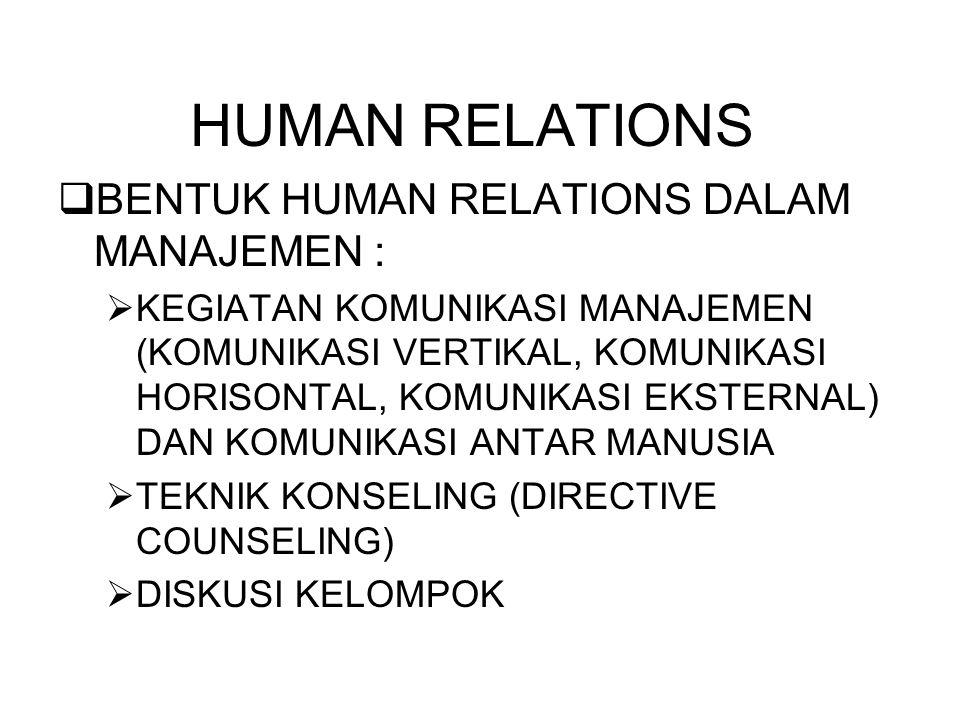 HUMAN RELATIONS  BENTUK HUMAN RELATIONS DALAM MANAJEMEN :  KEGIATAN KOMUNIKASI MANAJEMEN (KOMUNIKASI VERTIKAL, KOMUNIKASI HORISONTAL, KOMUNIKASI EKSTERNAL) DAN KOMUNIKASI ANTAR MANUSIA  TEKNIK KONSELING (DIRECTIVE COUNSELING)  DISKUSI KELOMPOK
