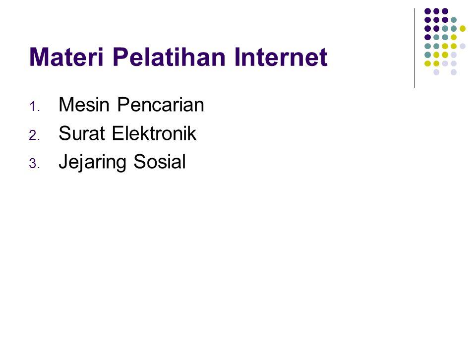 Materi Pelatihan Internet 1. Mesin Pencarian 2. Surat Elektronik 3. Jejaring Sosial