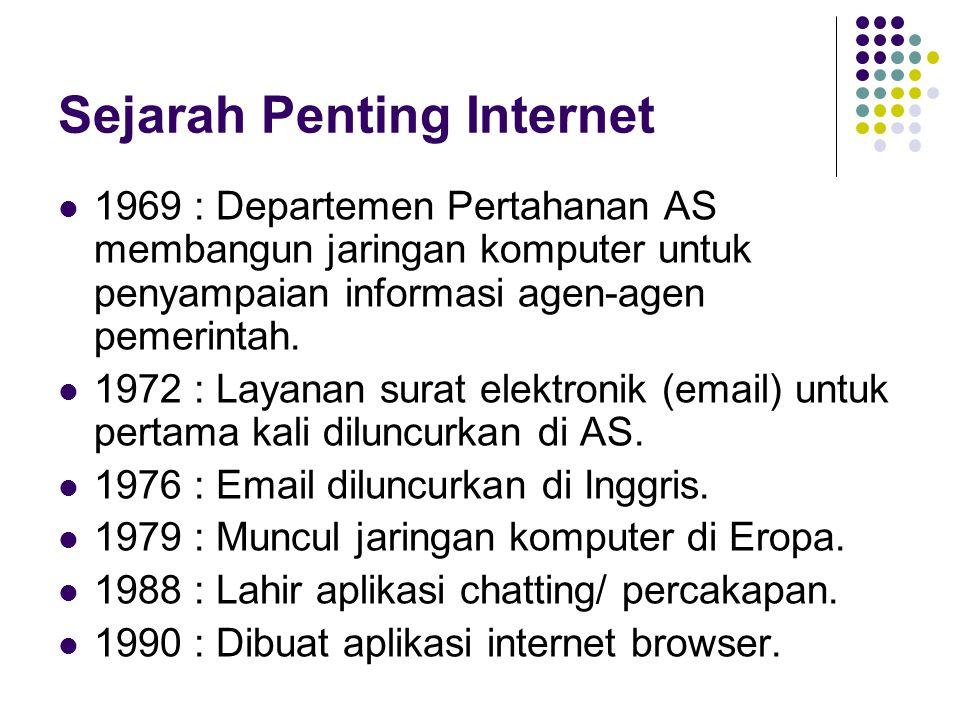 Perkembangan Internet  1969 : 4 komputer  1971 : 23 komputer  1977 : 111 komputer  1980 : 213 komputer  1982 : > 1.000 komputer  1987 : > 10.000 komputer  1992 : > 1.000.000 komputer  2010 : > 100.000.000 komputer dengan 1,9 Miliar pengguna (28% dari penduduk dunia).