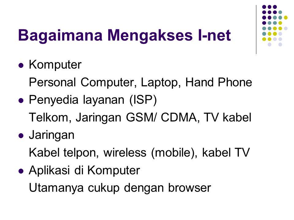 Bagaimana Mengakses I-net  Komputer Personal Computer, Laptop, Hand Phone  Penyedia layanan (ISP) Telkom, Jaringan GSM/ CDMA, TV kabel  Jaringan Ka