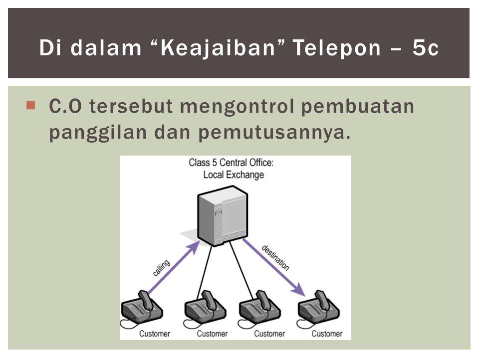 """ C.O tersebut mengontrol pembuatan panggilan dan pemutusannya. Di dalam """"Keajaiban"""" Telepon – 5c"""