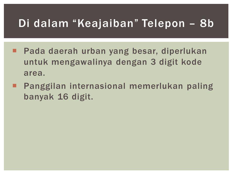  Pada daerah urban yang besar, diperlukan untuk mengawalinya dengan 3 digit kode area.  Panggilan internasional memerlukan paling banyak 16 digit. D