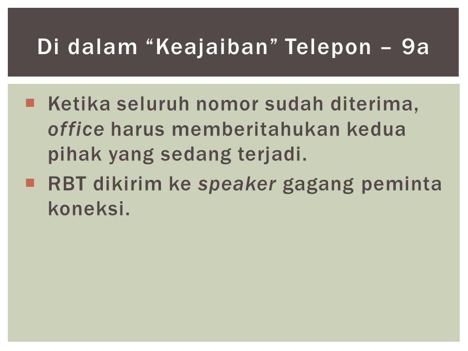  Ketika seluruh nomor sudah diterima, office harus memberitahukan kedua pihak yang sedang terjadi.  RBT dikirim ke speaker gagang peminta koneksi. D