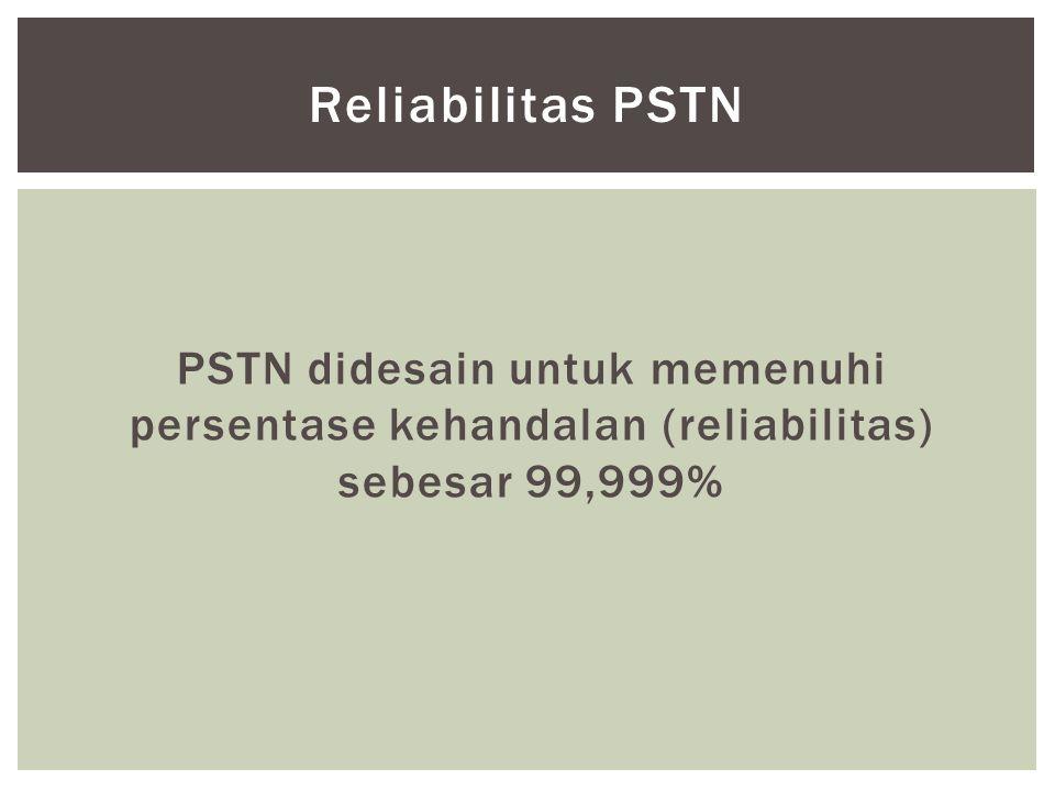 PSTN didesain untuk memenuhi persentase kehandalan (reliabilitas) sebesar 99,999% Reliabilitas PSTN