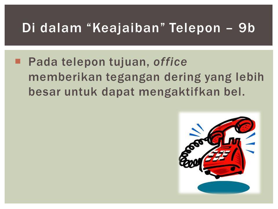 """ Pada telepon tujuan, office memberikan tegangan dering yang lebih besar untuk dapat mengaktifkan bel. Di dalam """"Keajaiban"""" Telepon – 9b"""