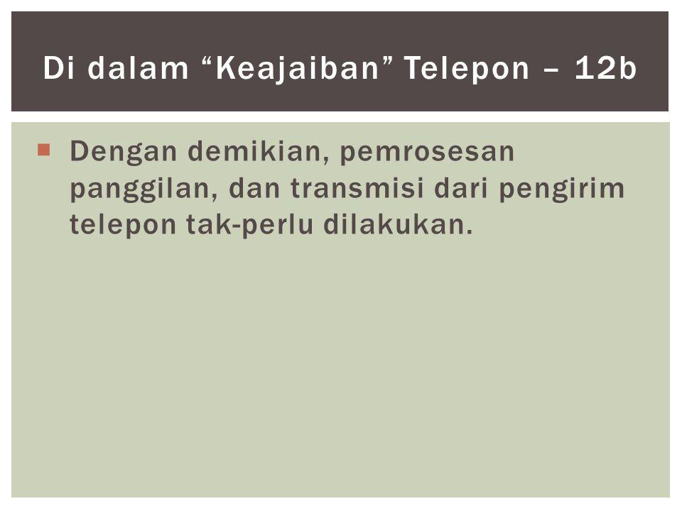""" Dengan demikian, pemrosesan panggilan, dan transmisi dari pengirim telepon tak-perlu dilakukan. Di dalam """"Keajaiban"""" Telepon – 12b"""