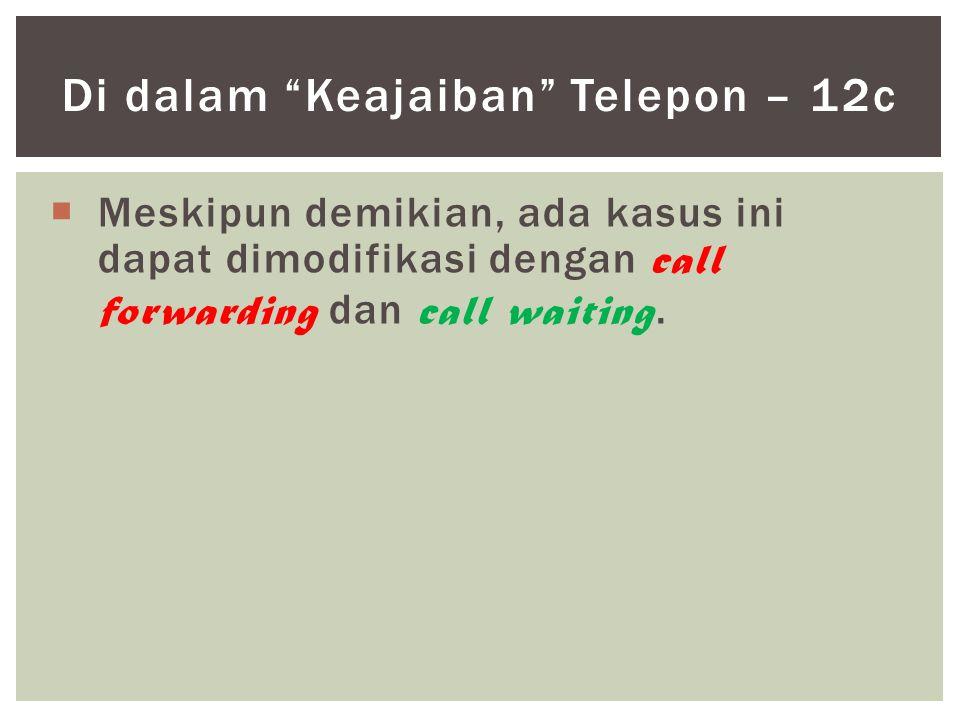 """ Meskipun demikian, ada kasus ini dapat dimodifikasi dengan call forwarding dan call waiting. Di dalam """"Keajaiban"""" Telepon – 12c"""