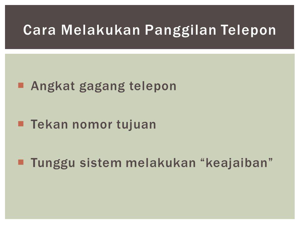 """ Angkat gagang telepon  Tekan nomor tujuan  Tunggu sistem melakukan """"keajaiban"""" Cara Melakukan Panggilan Telepon"""