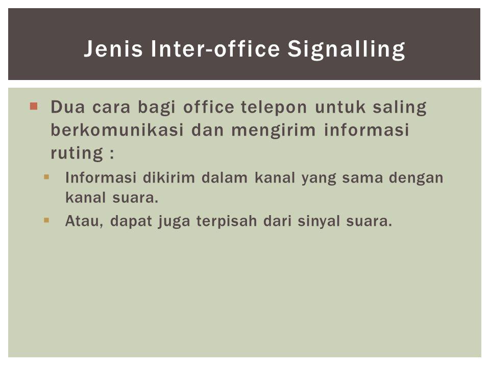  Dua cara bagi office telepon untuk saling berkomunikasi dan mengirim informasi ruting :  Informasi dikirim dalam kanal yang sama dengan kanal suara