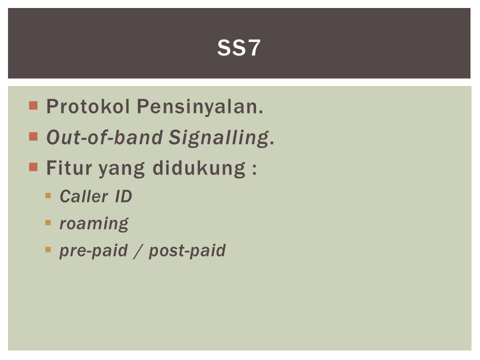  Protokol Pensinyalan.  Out-of-band Signalling.  Fitur yang didukung :  Caller ID  roaming  pre-paid / post-paid SS7