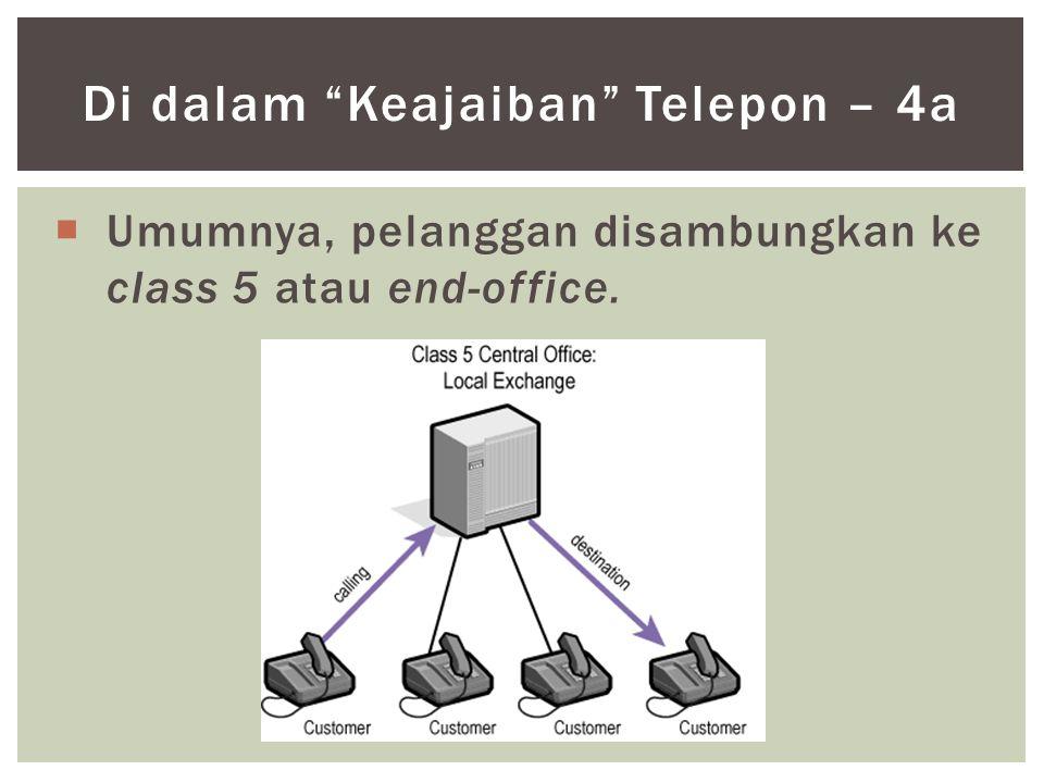" Umumnya, pelanggan disambungkan ke class 5 atau end-office. Di dalam ""Keajaiban"" Telepon – 4a"