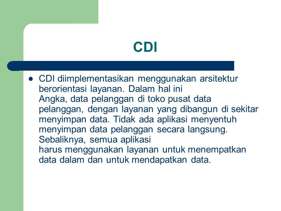 CDI  CDI diimplementasikan menggunakan arsitektur berorientasi layanan. Dalam hal ini Angka, data pelanggan di toko pusat data pelanggan, dengan laya