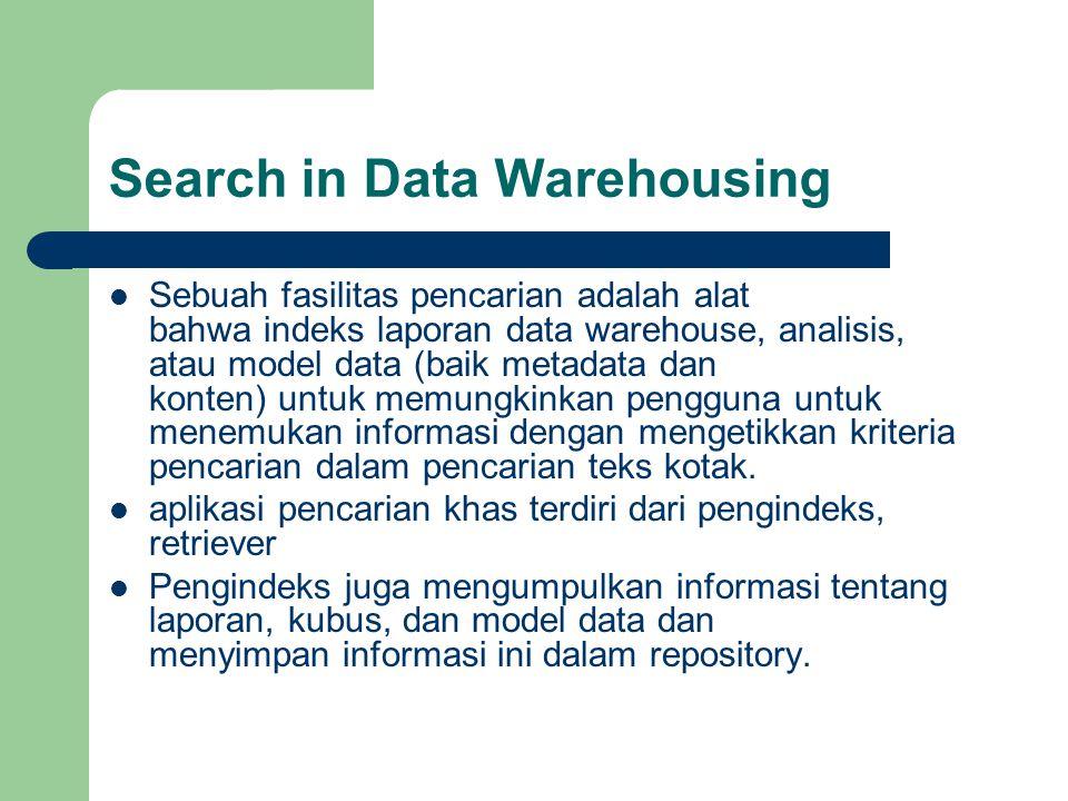 Search in Data Warehousing  Sebuah fasilitas pencarian adalah alat bahwa indeks laporan data warehouse, analisis, atau model data (baik metadata dan