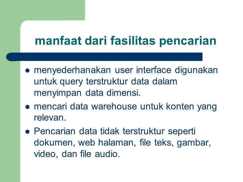 manfaat dari fasilitas pencarian  menyederhanakan user interface digunakan untuk query terstruktur data dalam menyimpan data dimensi.  mencari data