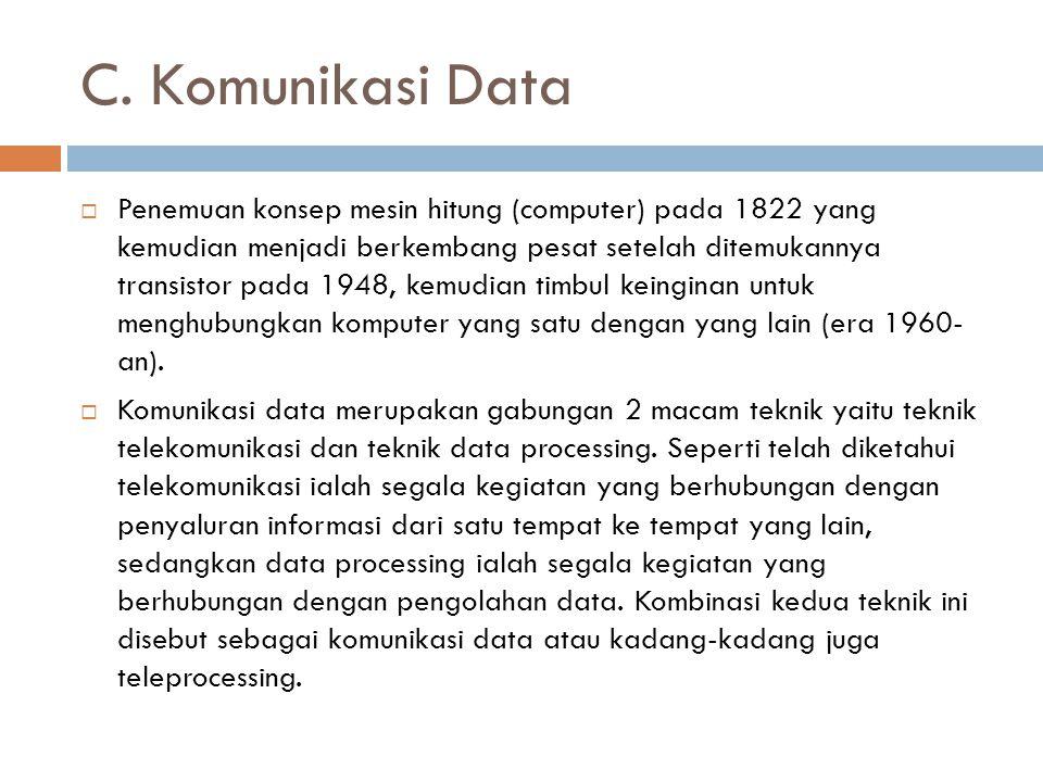 C. Komunikasi Data  Penemuan konsep mesin hitung (computer) pada 1822 yang kemudian menjadi berkembang pesat setelah ditemukannya transistor pada 194