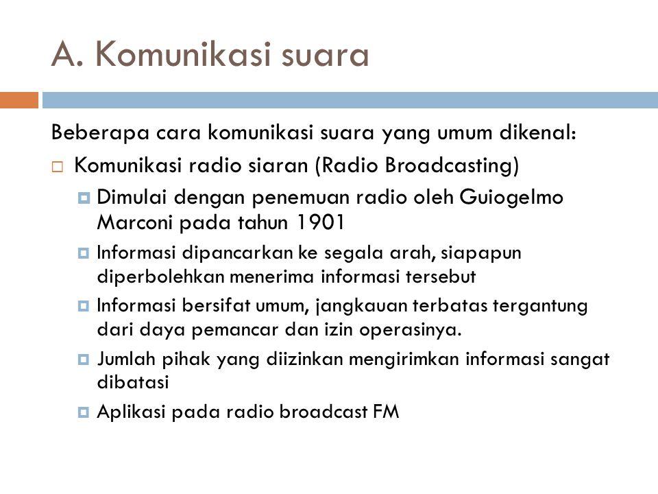 A. Komunikasi suara Beberapa cara komunikasi suara yang umum dikenal:  Komunikasi radio siaran (Radio Broadcasting)  Dimulai dengan penemuan radio o