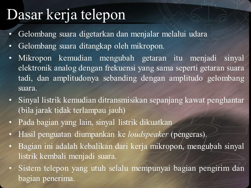 Dasar kerja telepon •Gelombang suara digetarkan dan menjalar melalui udara •Gelombang suara ditangkap oleh mikropon. •Mikropon kemudian mengubah getar