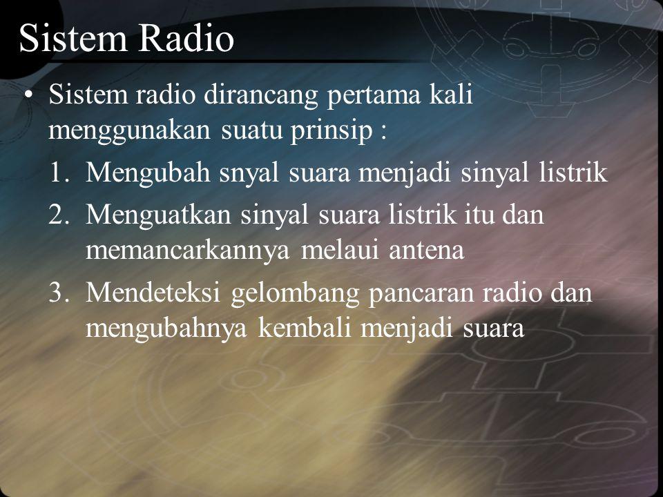 Sistem Radio •Sistem radio dirancang pertama kali menggunakan suatu prinsip : 1.Mengubah snyal suara menjadi sinyal listrik 2.Menguatkan sinyal suara