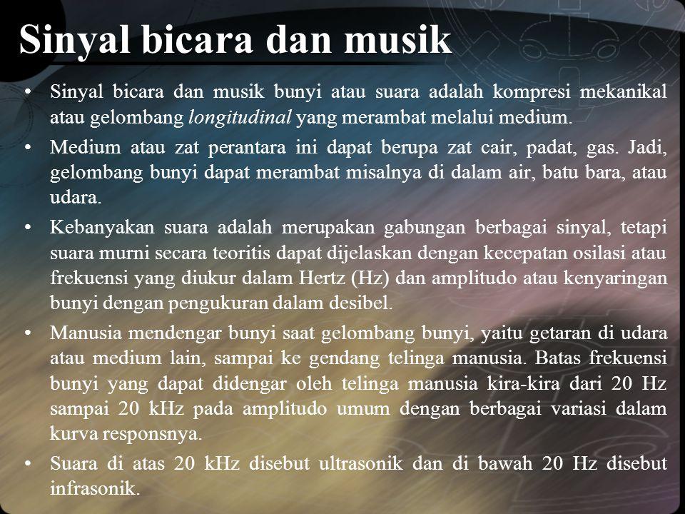 Sinyal bicara dan musik •Sinyal bicara dan musik bunyi atau suara adalah kompresi mekanikal atau gelombang longitudinal yang merambat melalui medium.