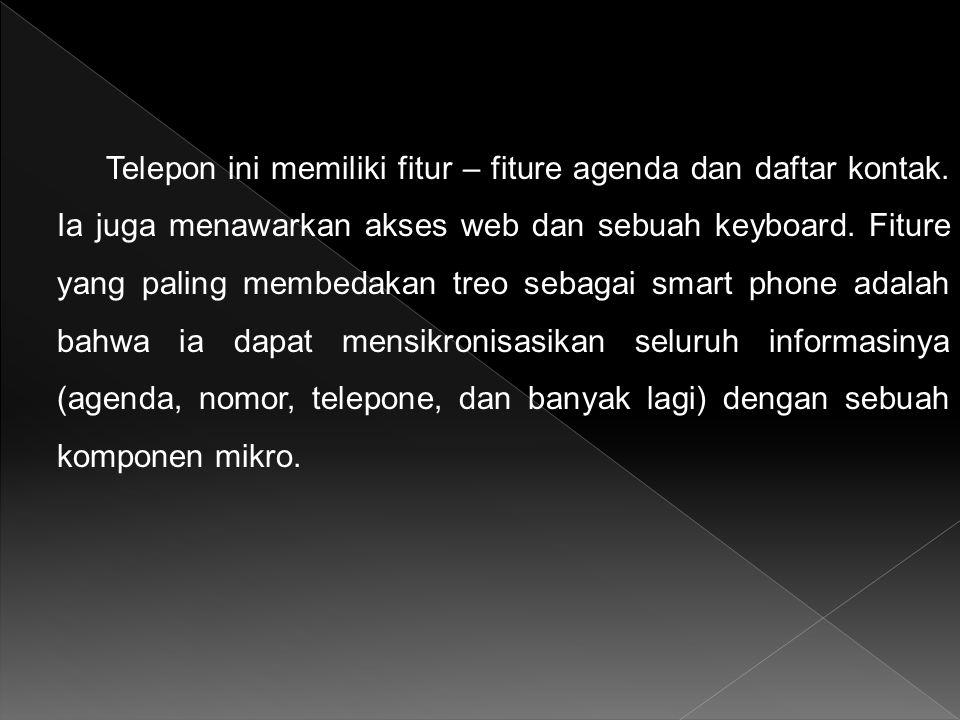 Telepon ini memiliki fitur – fiture agenda dan daftar kontak. Ia juga menawarkan akses web dan sebuah keyboard. Fiture yang paling membedakan treo seb