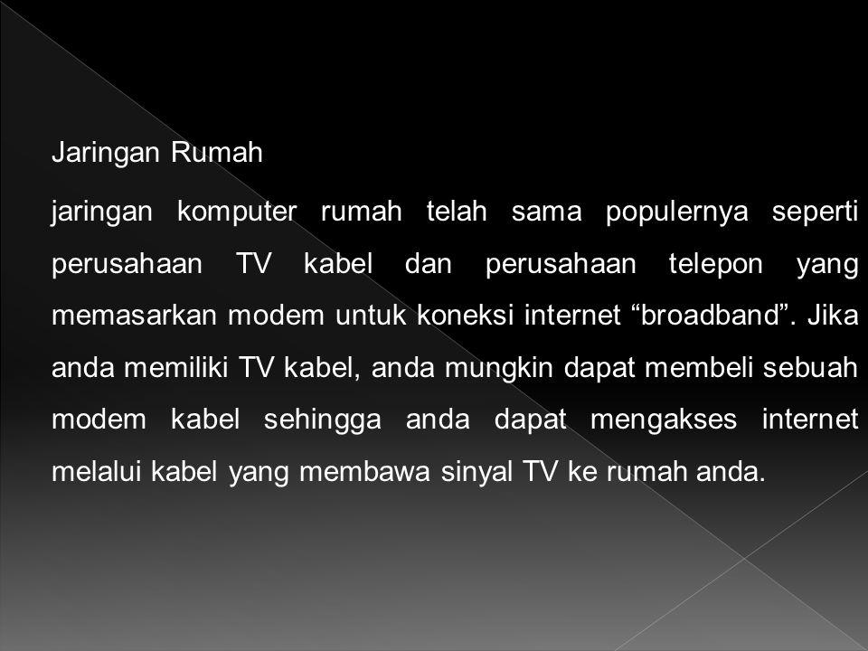 Jaringan Rumah jaringan komputer rumah telah sama populernya seperti perusahaan TV kabel dan perusahaan telepon yang memasarkan modem untuk koneksi internet broadband .
