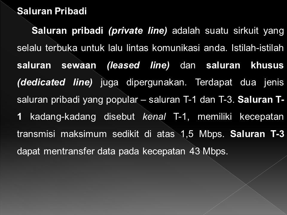 Saluran Pribadi Saluran pribadi (private line) adalah suatu sirkuit yang selalu terbuka untuk lalu lintas komunikasi anda.