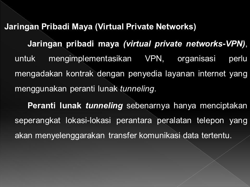 Jaringan Pribadi Maya (Virtual Private Networks) Jaringan pribadi maya (virtual private networks-VPN), untuk mengimplementasikan VPN, organisasi perlu mengadakan kontrak dengan penyedia layanan internet yang menggunakan peranti lunak tunneling.