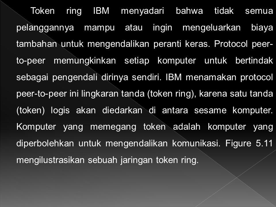 Token ring IBM menyadari bahwa tidak semua pelanggannya mampu atau ingin mengeluarkan biaya tambahan untuk mengendalikan peranti keras. Protocol peer-