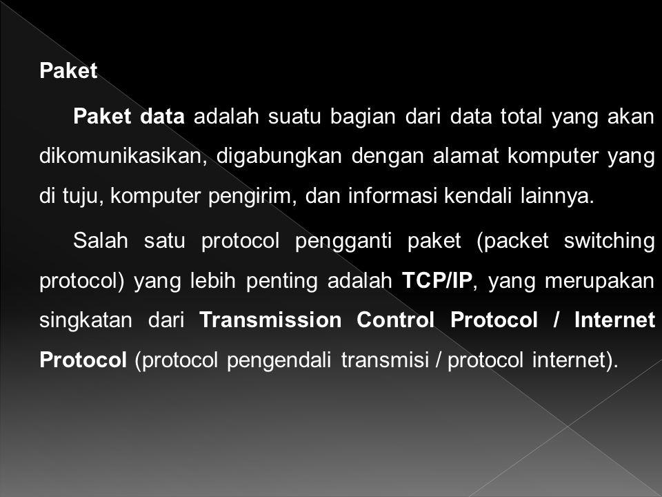 Paket Paket data adalah suatu bagian dari data total yang akan dikomunikasikan, digabungkan dengan alamat komputer yang di tuju, komputer pengirim, dan informasi kendali lainnya.