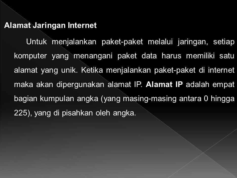 Alamat Jaringan Internet Untuk menjalankan paket-paket melalui jaringan, setiap komputer yang menangani paket data harus memiliki satu alamat yang unik.