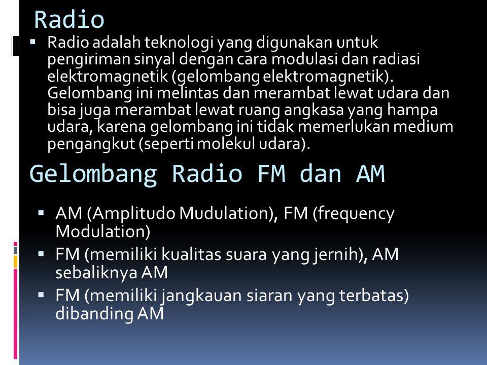 Radio  Radio adalah teknologi yang digunakan untuk pengiriman sinyal dengan cara modulasi dan radiasi elektromagnetik (gelombang elektromagnetik).