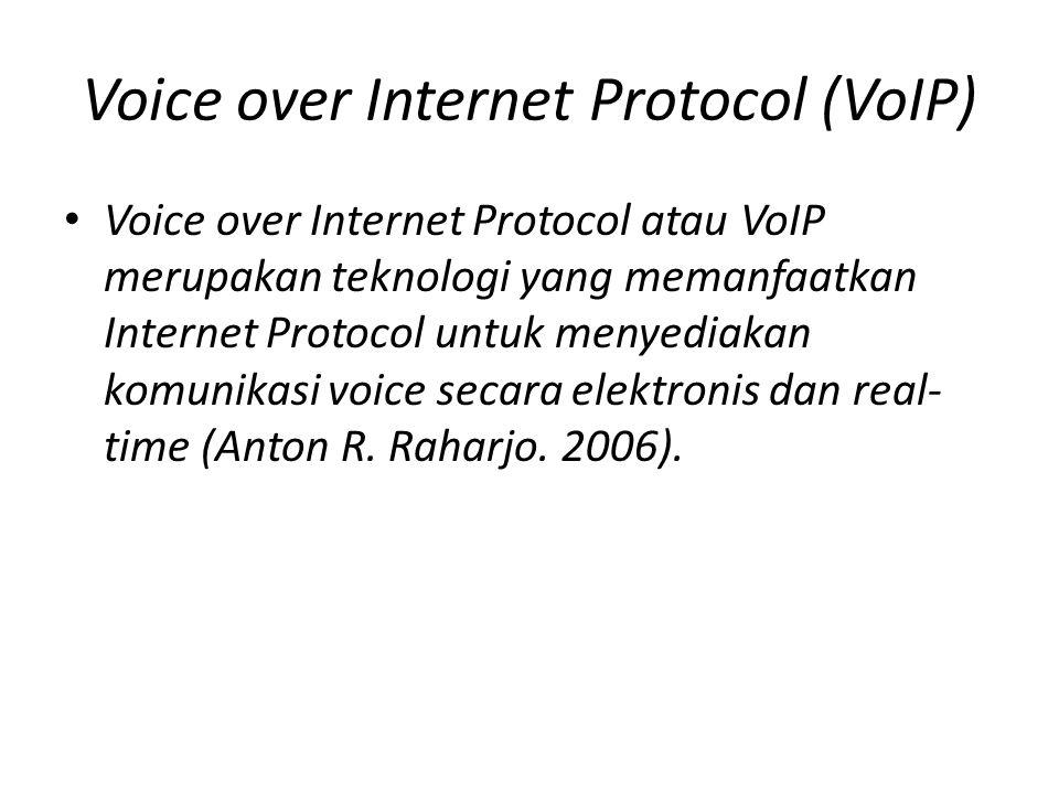 Voice over Internet Protocol (VoIP) • VoIP dapat dioperasikan melalui jaringan komputer selayaknya telepon pada Public Swetched Telephone Network (PSTN) namun yang membedakan adalah VoIP dapat menggunakan softphone pada komputer untuk berkomunikasi tanpa menggunakan perangkat telepon analog.