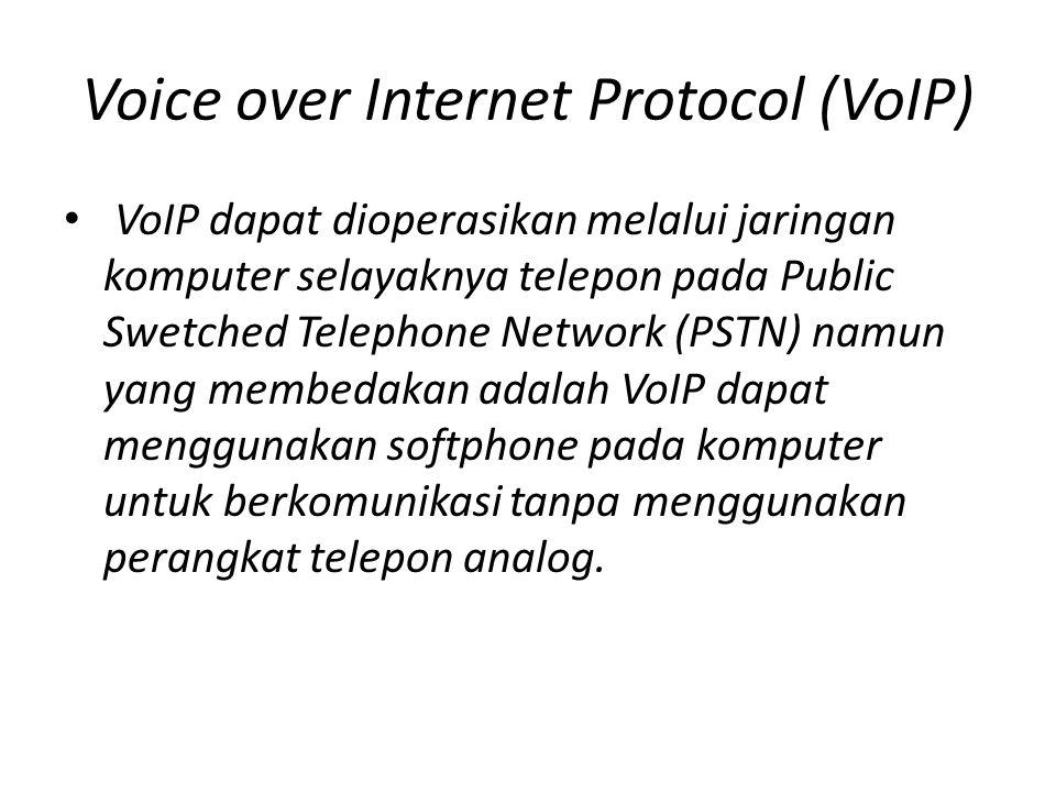 Komponen VoIP • Server internet (proxy) lengkap dengan Sound card, Headset lengkap dengan mikrofon dan speaker dan NIC.
