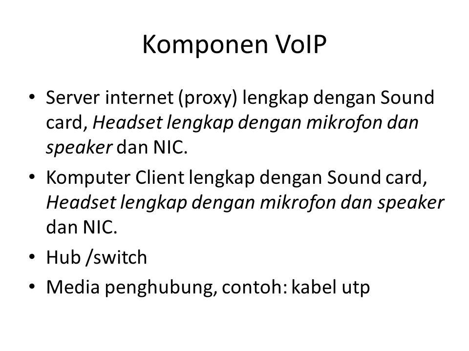 Komponen VoIP • Server internet (proxy) lengkap dengan Sound card, Headset lengkap dengan mikrofon dan speaker dan NIC. • Komputer Client lengkap deng
