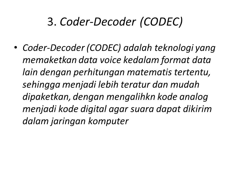 • Codec yang banyak digunakan di jaringan, sebagai berikut :