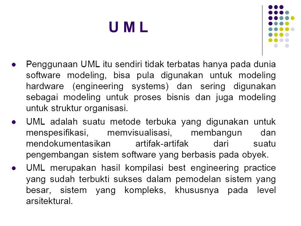U M L  Penggunaan UML itu sendiri tidak terbatas hanya pada dunia software modeling, bisa pula digunakan untuk modeling hardware (engineering systems
