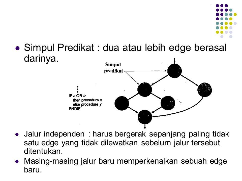  Simpul Predikat : dua atau lebih edge berasal darinya.  Jalur independen : harus bergerak sepanjang paling tidak satu edge yang tidak dilewatkan se