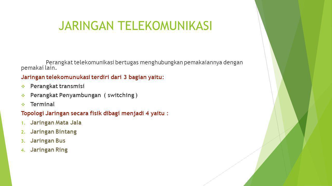 JARINGAN TELEKOMUNIKASI Perangkat telekomunikasi bertugas menghubungkan pemakaiannya dengan pemakai lain. Jaringan telekomunukasi terdiri dari 3 bagia
