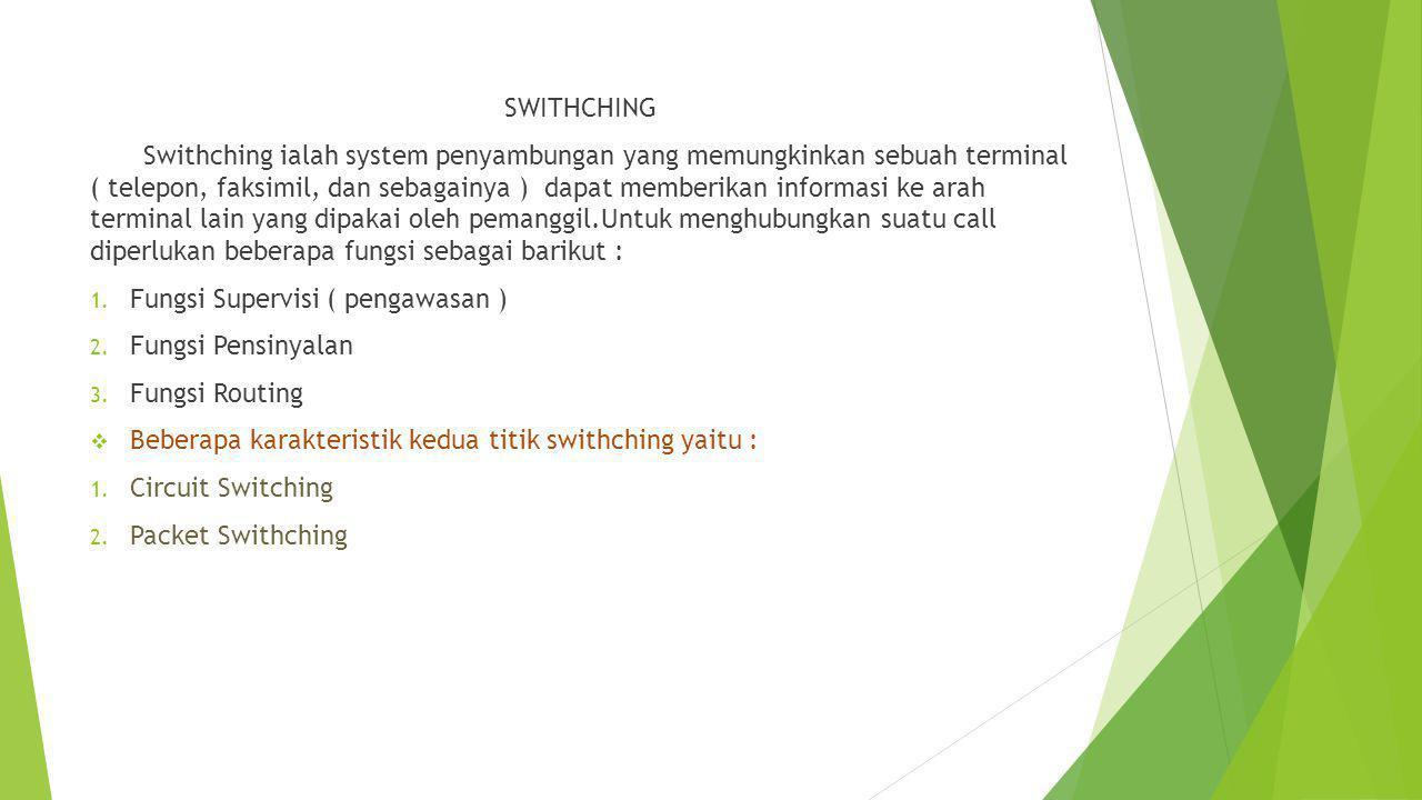 SWITHCHING Swithching ialah system penyambungan yang memungkinkan sebuah terminal ( telepon, faksimil, dan sebagainya ) dapat memberikan informasi ke