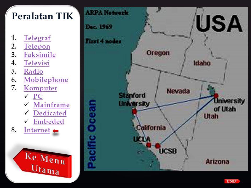 Cikal bakal dari internet adalah ARPANET yang menghubungkan beberapa komputer :  University of California at Los Angeles (UCLA),  Stanfort Research